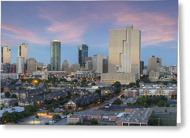 Ft Worth Greeting Cards - Texas Images - Fort Worth Skyline in Summer 2 Greeting Card by Rob Greebon