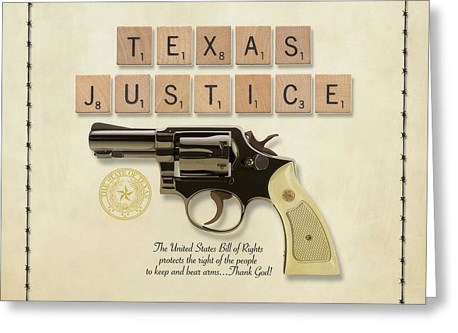 Decorative Greeting Cards - Texas Justice Greeting Card by Gary Grayson