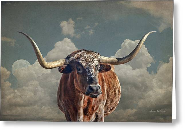 Steer Greeting Cards - Texas Longhorn Greeting Card by Karen Slagle