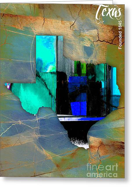 Map Greeting Cards - Texas State Map Watercolor Greeting Card by Marvin Blaine