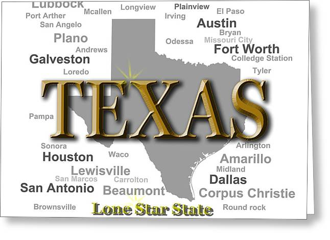 Port Town Digital Art Greeting Cards - Texas State Pride Map Silhouette  Greeting Card by Keith Webber Jr