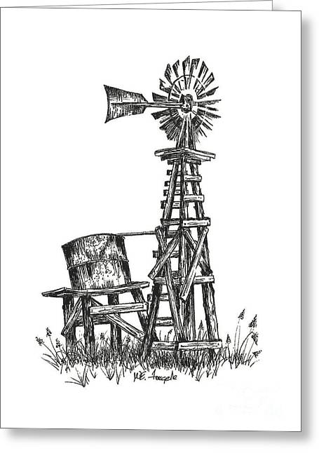 Universities Drawings Greeting Cards - Texas Windmill Greeting Card by Walt Foegelle