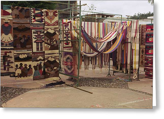 Street Market Greeting Cards - Textile Products In A Market, Ecuador Greeting Card by Panoramic Images
