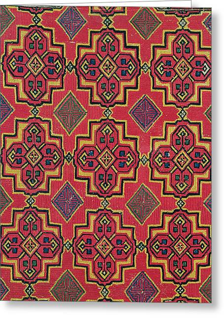 Repetition Paintings Greeting Cards - Textile with geometric pattern Greeting Card by Moroccan School