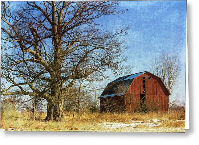 Wooden Building Mixed Media Greeting Cards - Textured Red Barn Greeting Card by Kathleen Scanlan