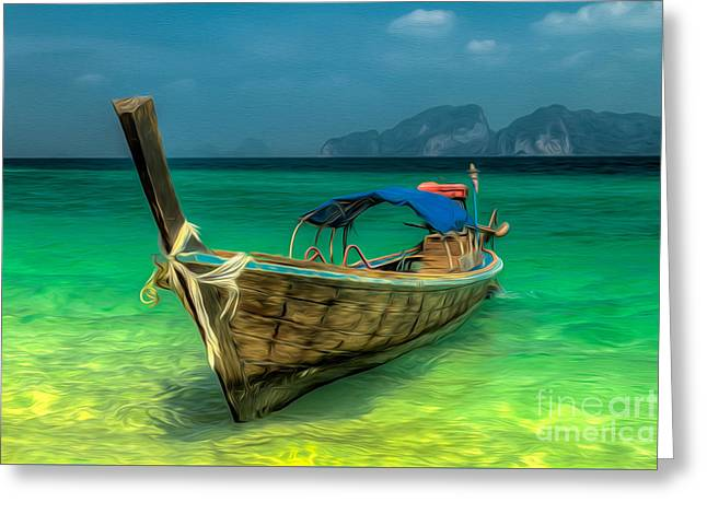 Thai Longboat Greeting Card by Adrian Evans
