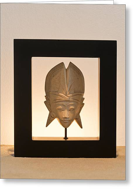 Wood Carving Greeting Cards - Thai Mask Greeting Card by Ulrich Schade