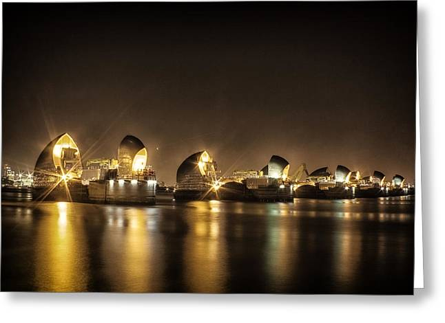 Thames River Greeting Cards - Thames flood barrier Greeting Card by Ian Hufton