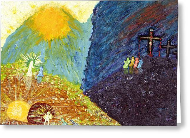 Artandstuffbycarl.com Greeting Cards - Thank God For Good Friday And Easter Sunday Greeting Card by Carl Deaville