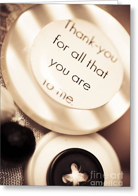 Special Occasion Greeting Cards - Thank you wedding buttons. Low DOF Macro Greeting Card by Ryan Jorgensen