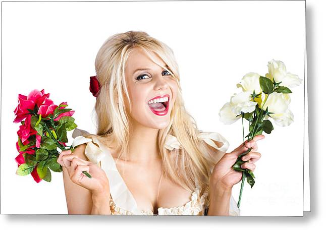 Youthful Photographs Greeting Cards - Thankful woman with fresh flower love Greeting Card by Ryan Jorgensen