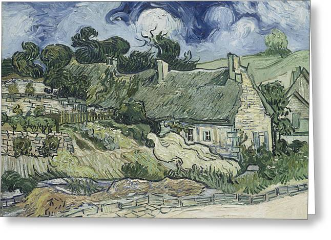 Graveyard Road Greeting Cards - Thatched Cottages at Cordeville Greeting Card by Vincent van Gogh