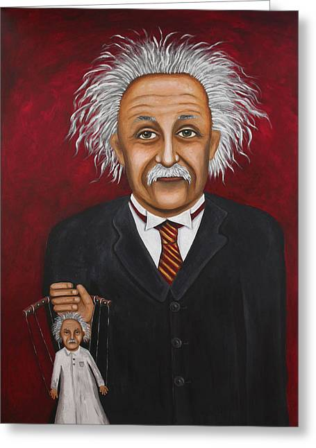 Mustache Greeting Cards - The 2 Einsteins Greeting Card by Leah Saulnier The Painting Maniac