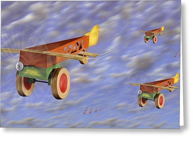 Tin Planes Greeting Cards - The 356th Toy Plane Squadron Greeting Card by Mike McGlothlen