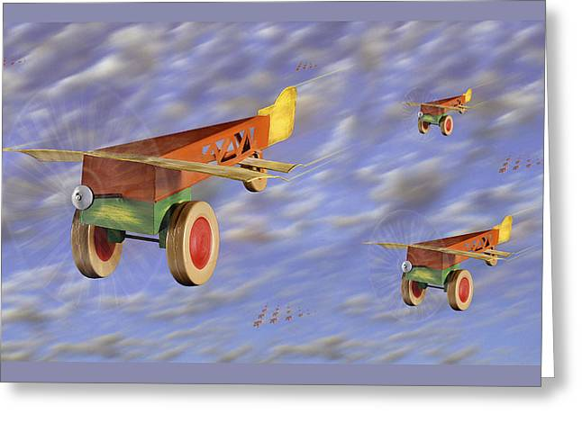 The 356th Toy Plane Squadron Greeting Card by Mike McGlothlen