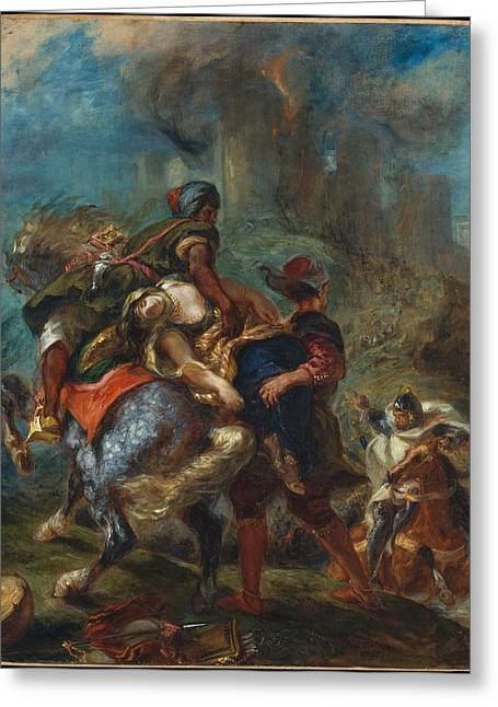 Abduction Greeting Cards - The Abduction of Rebecca Greeting Card by Eugene Delacroix
