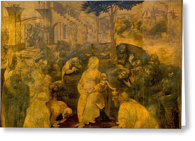 The Uffizi Greeting Cards - The Adoration of the Magi Greeting Card by Leonardo da Vinci