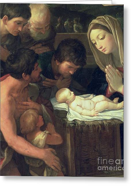 Spiritual Birth Greeting Cards - The Adoration of the Shepherds Greeting Card by Guido Reni