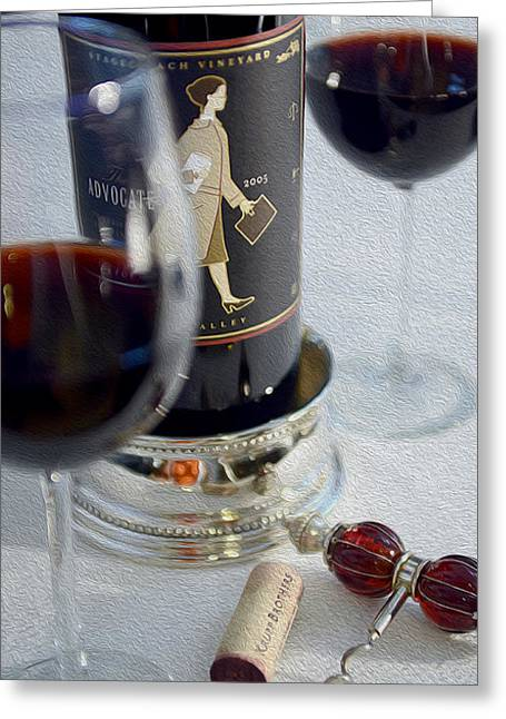 Red Wine Bottle Mixed Media Greeting Cards - The Advocate painting Greeting Card by Jon Neidert