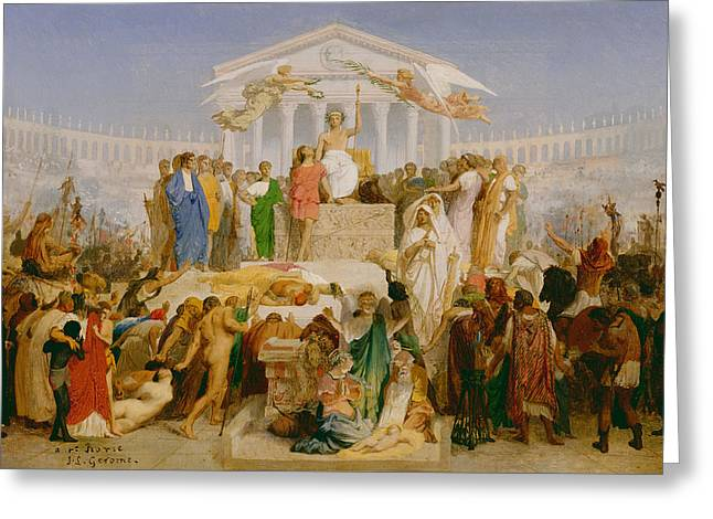 Jean Leon Gerome Greeting Cards - The Age of Augustus the Birth of Christ Greeting Card by Jean Leon Gerome