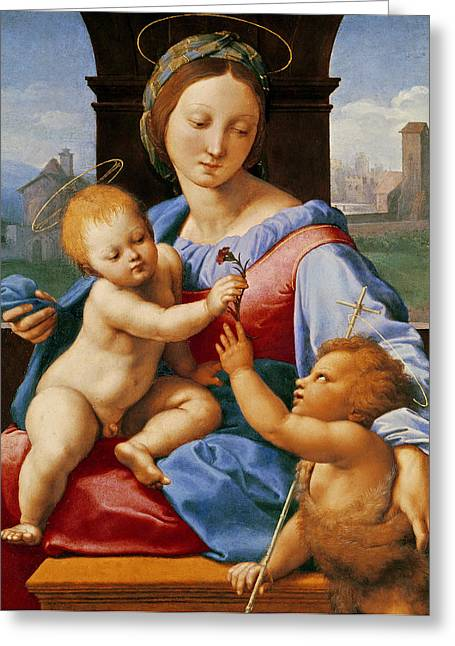 St John The Baptist Greeting Cards - The Aldobrandini Madonna or The Garvagh Madonna  Greeting Card by Raphael