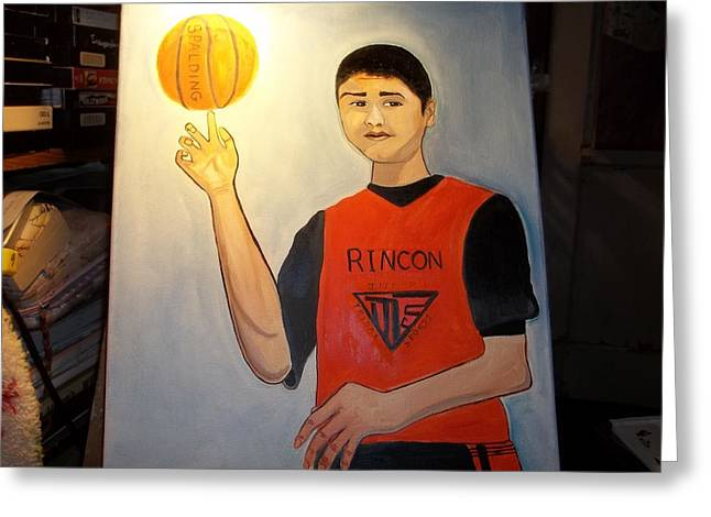 Basketballs Greeting Cards - The All Star Jacob Andreas Greeting Card by Catherine Nelson-Rodriguez