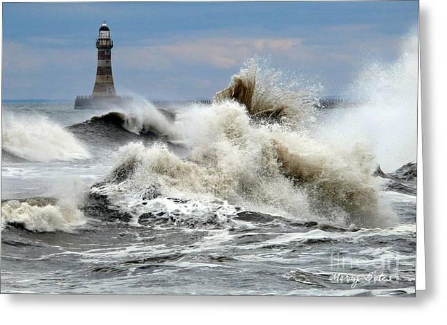 Morag Bates Greeting Cards - The Angry Sea Greeting Card by Morag Bates