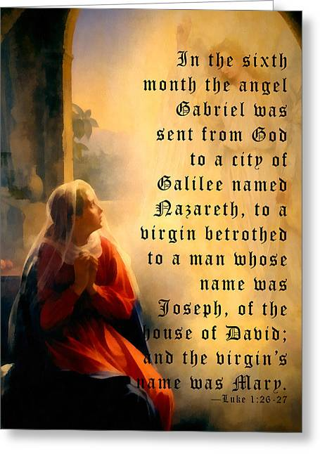 Religious Art Greeting Cards - The Annunciation Greeting Card by Carl Bloch
