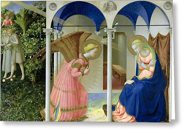 Light Rays Greeting Cards - The Annunciation Greeting Card by Fra Angelico