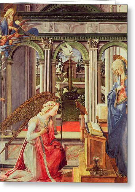 Archangel Greeting Cards - The Annunciation Greeting Card by Fra Filippo Lippi
