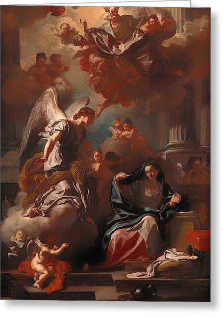 Religious Artwork Paintings Greeting Cards - The Annunciation Greeting Card by Francesco Solimena