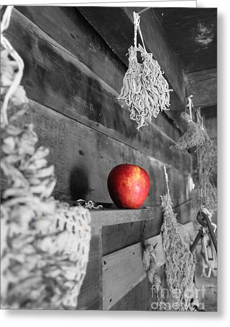 Farmlife Greeting Cards - The Apple Greeting Card by Laurinda Bowling