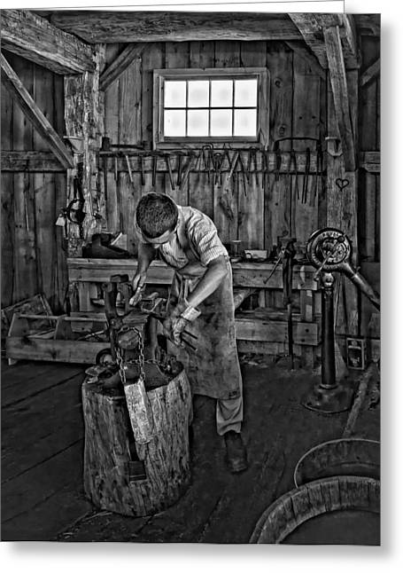 Antique Ironwork Greeting Cards - The Apprentice monochrome Greeting Card by Steve Harrington