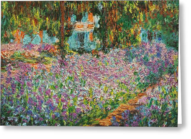 Recently Sold -  - Sunset Posters Greeting Cards - The Artists Garden at Giverny Greeting Card by Celestial Images