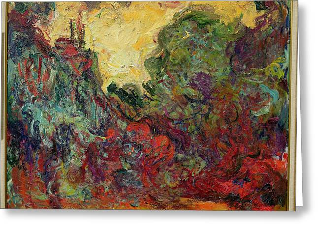 Giverny Greeting Cards - The Artists House From The Rose Garden, 1922-24 Oil On Canvas Greeting Card by Claude Monet