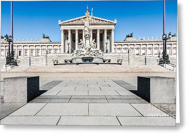 Greek Sculpture Greeting Cards - The Austrian Parliament Greeting Card by JR Photography