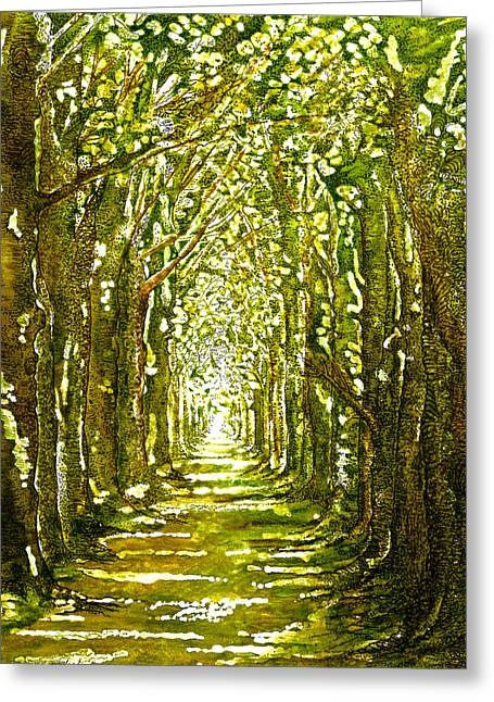 Dappled Light Greeting Cards - The Avenue In Spring Greeting Card by Emma Childs