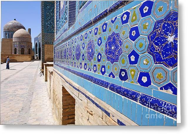 The Avenue Of Mausoleums In Samarkand Uzbekistan Greeting Card by Robert Preston
