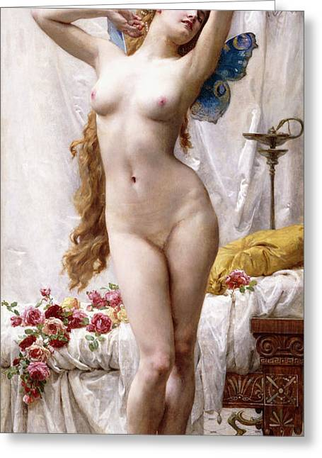 Odalisque Greeting Cards - The Awakening of Psyche Greeting Card by Guillaume Seignac