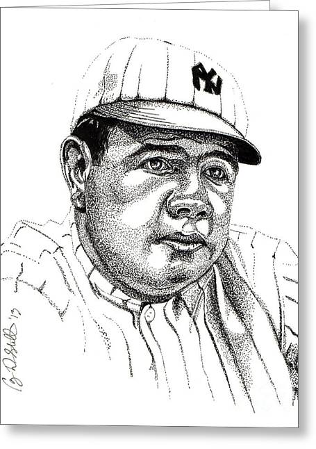 Athletes Drawings Greeting Cards - The Babe Greeting Card by Cory Still