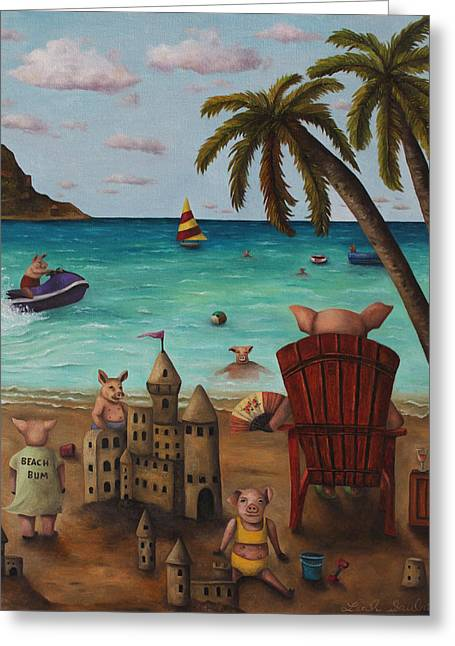 Sand Castles Greeting Cards - The Bacon Shortage Greeting Card by Leah Saulnier The Painting Maniac