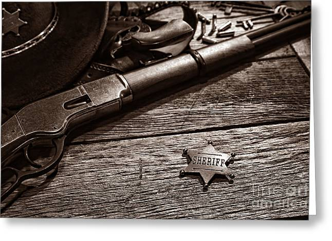 Holster Greeting Cards - The Badge Greeting Card by American West Legend By Olivier Le Queinec