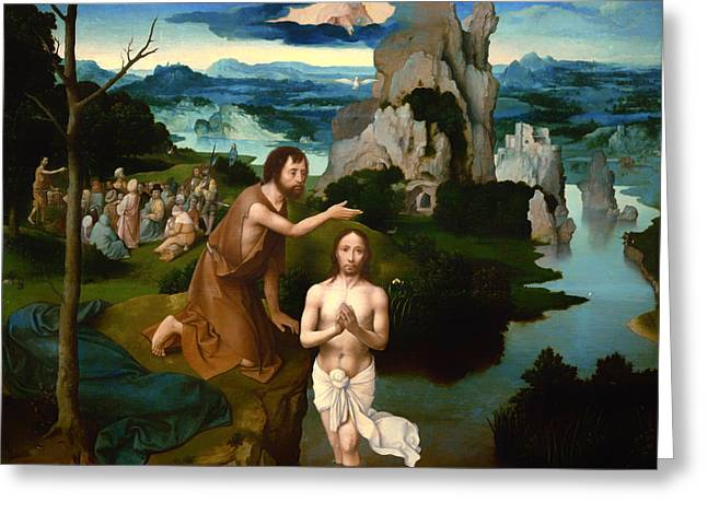 Religious Artwork Paintings Greeting Cards - The Baptism of Christ Greeting Card by Joachim Patinir