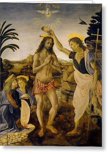 The Uffizi Greeting Cards - The Baptism of Christ Greeting Card by Leonardo da Vinci