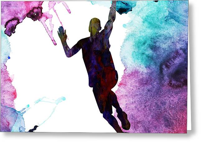 Basket Ball Game Paintings Greeting Cards - The Basket Player  Greeting Card by Celestial Images