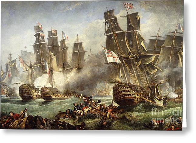 Water Vessels Greeting Cards - The Battle of Trafalgar Greeting Card by English School