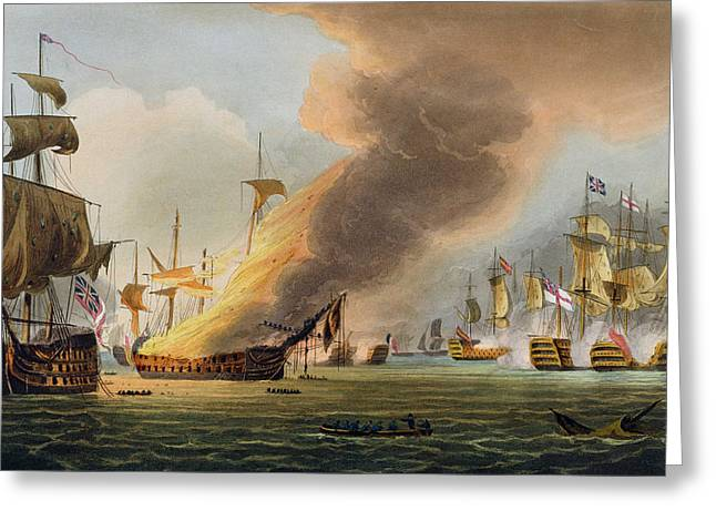 Blaze Greeting Cards - The Battle of Trafalgar Greeting Card by Thomas Whitcombe