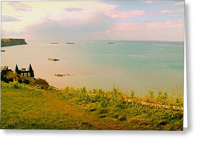Ocean Vista Greeting Cards - The Beach at Normandy Panorama Greeting Card by Mountain Dreams