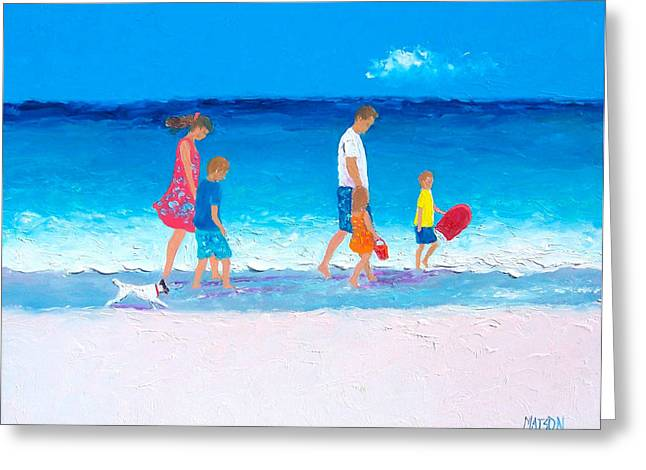Dog Beach Print Greeting Cards - The Beach Holiday Greeting Card by Jan Matson