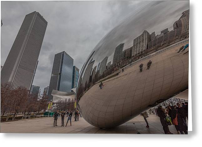 The Bean Greeting Cards - The Bean in Chicago Greeting Card by Ben Adkison